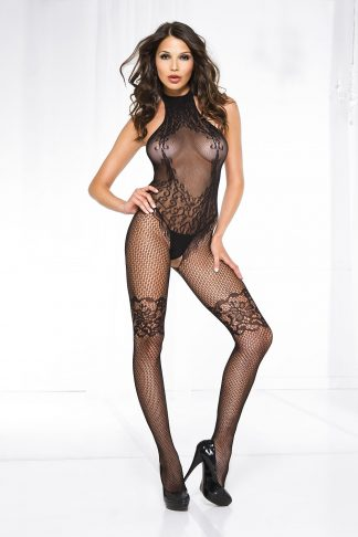 Music Legs Halter neck lace design crotchless bodystocking