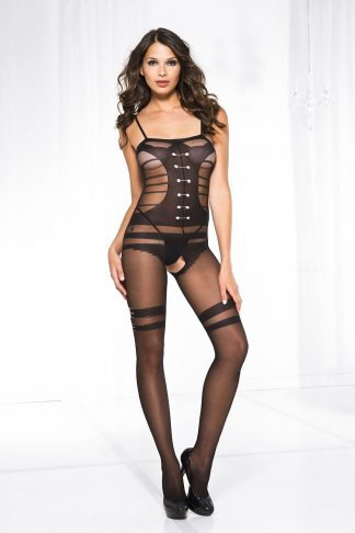 Music Legs Sheer bodystocking with faux design buttoned up teddy and belt print stockings