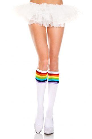 Music Legs Rainbow striped knee hi socks