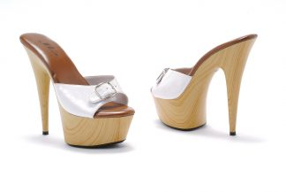 "Ellie Shoes Women's 609-Barbara 6"" Faux Wood Platform Slide"