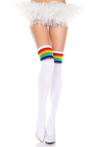 Music Legs Rainbow Stripe Thigh High Socks
