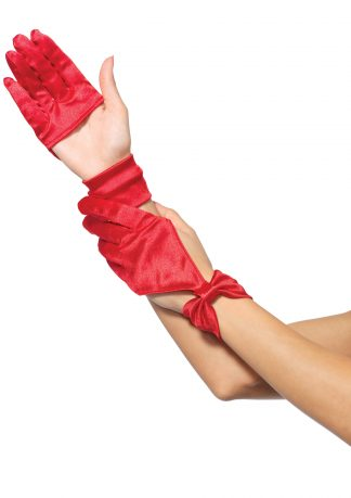 Satin Cut Out Glove With Bow Wrist Detail LA-3737
