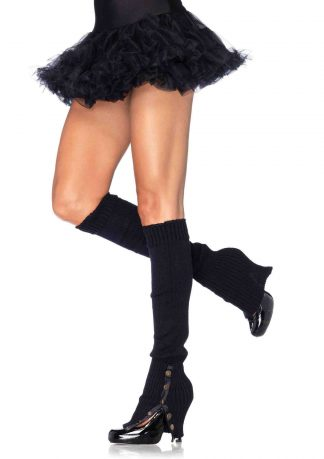 Leg Warmers with Button Side O/S BLACK