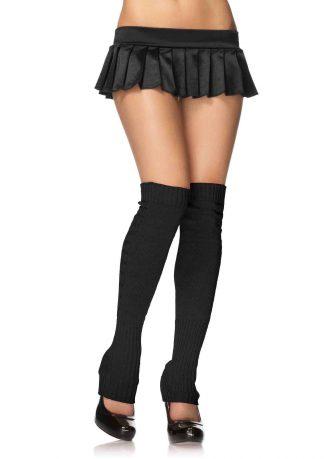 Extra long ribbed knit leg warmers O/S BLACK