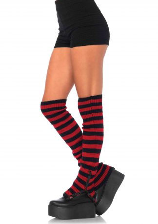 Striped extra long leg warmers with side snap detail O/S BLACK/RED