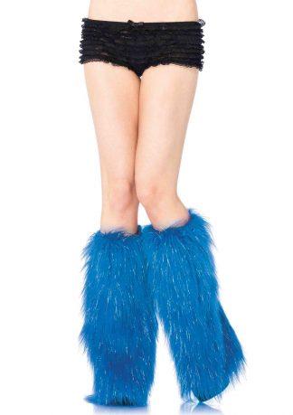 Furry lurex leg warmers