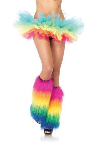 Furry rainbow leg warmers O/S MULTICOLOR