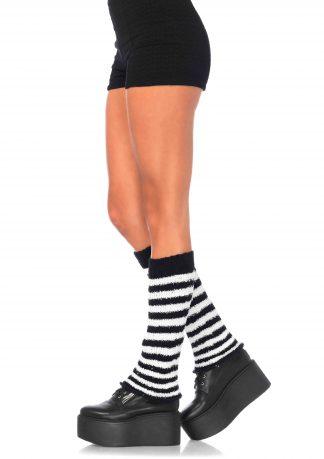 Fuzzy Stripe Leg Warmer O/S BLACK/WHITE