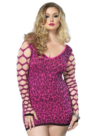 Seamless Leopard Mini Dress With Net Sleeves Plus Size Fuchsia LA-86581Q07072