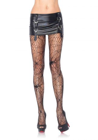 Black widow spider net pantyhose O/S BLACK