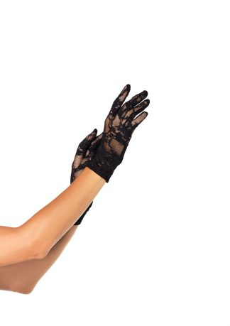 Stretch Lace Wrist Length Gloves O/S Black LA-G128022001