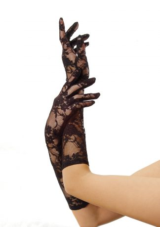 Stretch Lace Gloves Elbow Length O/S Black LA-G185022001