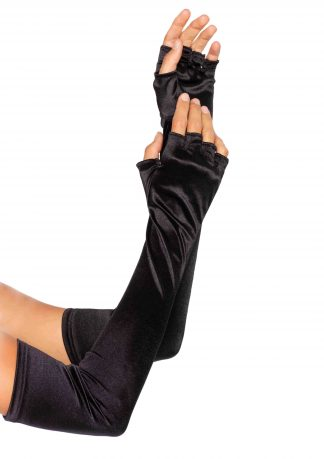 Velvet Opera Length Fingerless Gloves