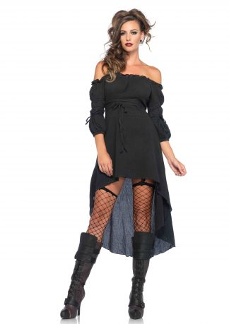 Gauze High Low Peasant Dress With Tie Up Waist And Sleeves