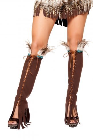 Lace up Suede Leg Warmer with Feather and Fringe Detail RM-LW10106
