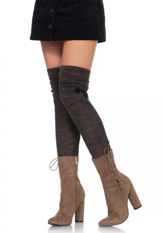 Marled Knit Socks with Mini Bow Accent LA-6345