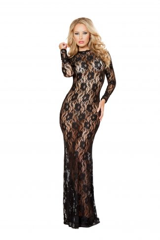 1pc Lace Dress with Open Back and Hook Closure RM-LI129