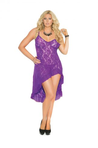 1478X Stretch Lace Gown With Adjustable Straps EM-1478X