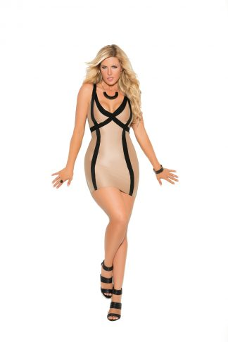 8401X Lycra Mini Dress With Contrast Trim And Double Shoulder Straps EM-8401X
