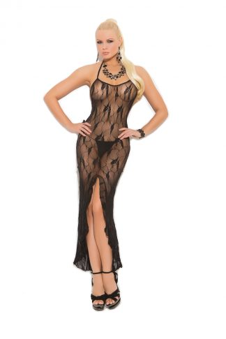Butterfly Lace Slip Style Gown With Front Slit EM-1442
