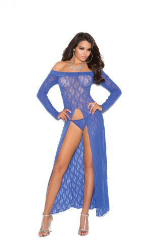 Long Sleeve Lace Gown With Front Slit And G-String EM-1519