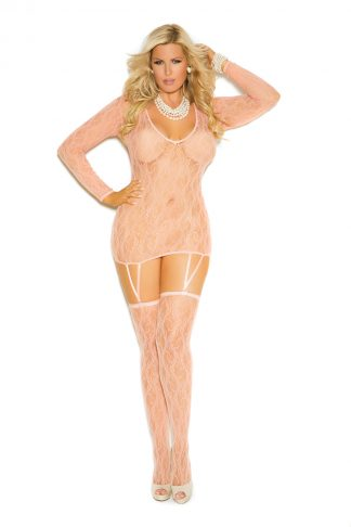 Long Sleeve Lace Camisette And Matching Stockings EM-1584Q