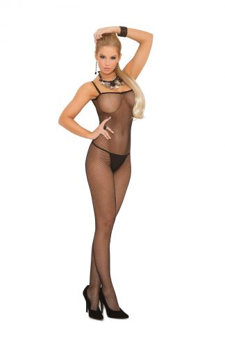 Seamless Fishnet Criss Cross Back Bodystocking With Open Crotch EM-1611QB