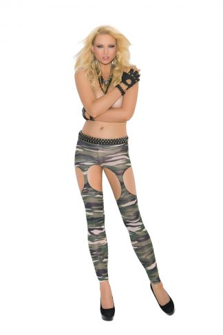 Camouflage Leggings With Garter Cut-Outs EM-1789