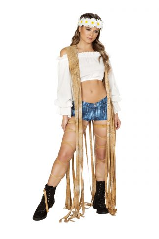 1pc Brown Tie Dye Suede Vest with Long Fringe Detail RM-3588