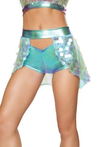 1pc Open Asymmetrical Sequin Skirt RM-3599