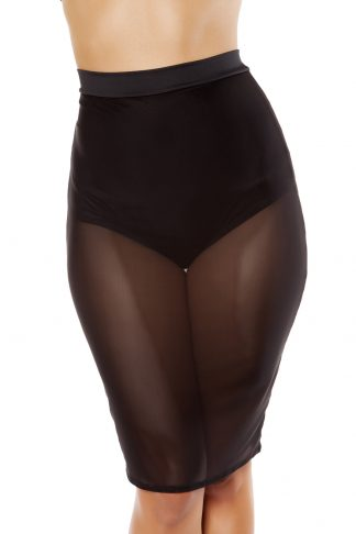 Sheer Mesh Skirt with Attached Underlay High-Waisted Shorts RM-3377