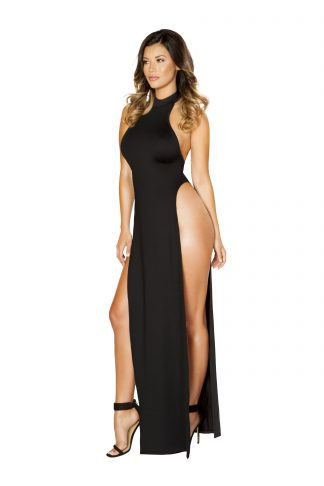 Maxi Length Halter Neck Dress with High Slits RM-3529