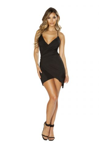 Spaghetti Strap Satin Dress with Overlapping Scrunch Detail RM-3644