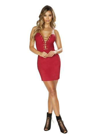 Strapless Satin Mini Dress with Lace-Up Detail RM-3648