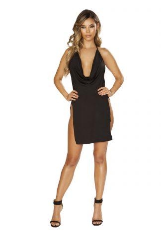 Mini Cowl Neck Dress with High Slits RM-3651