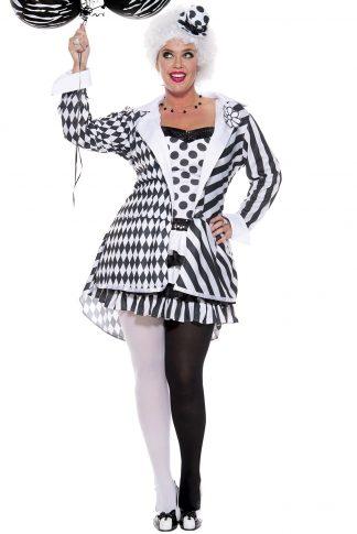 New Music Legs 70639 Black And White Clown Costume
