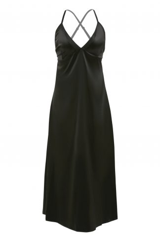 Olive Satin Slip Dress with Lace Up Back