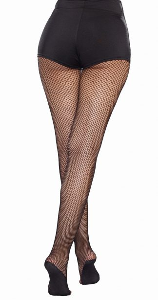 Plus Size Fishnet Pantyhose with Solid Foot