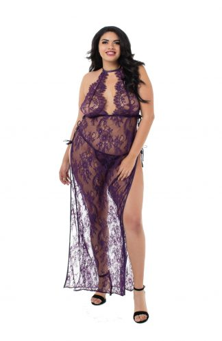 Women's Plus Size Toga Style Lace Gown