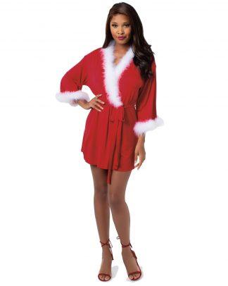 Women's Santa Themed Knit Wrap Robe