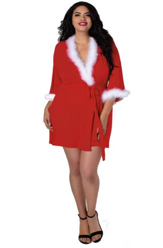 Women's Plus Size Santa Themed Knit Wrap Robe