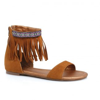 015-HENA Tribal Fringe Native Flat Sandal With Embroidered Details