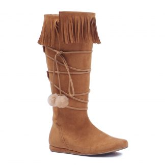 "103-DAKOTA 1"" Heel Boot With Fringe And Poms"