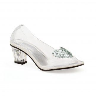 """212-ARIEL 2"""" Heel Clear Slipper With Silver Glitter Heart"""