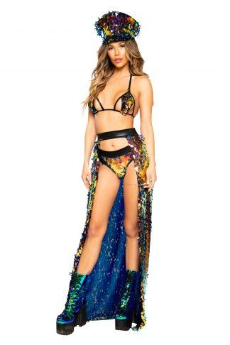 Open Banded Sequin Skirt