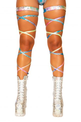 "100"" Rainbow Splash Leg Strap with Attached Garter"