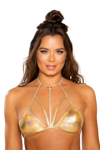 Shiny Metallic Bikini Top with Strap Detail