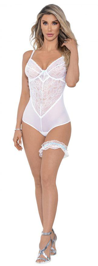 30412 Bridal Romper with leg garter