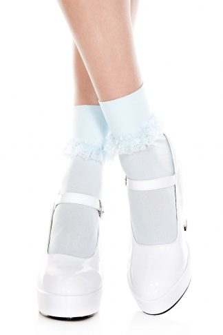 Opaque Ankle Hi With Ruffle Trim