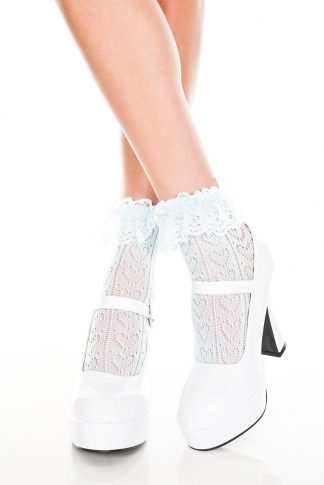 Heart Net Design Ankle Hi With Ruffle Trim